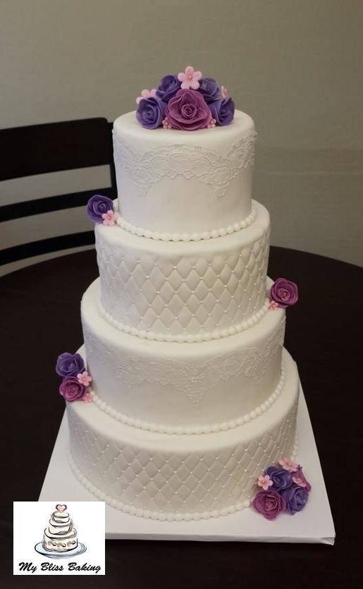 White Wedding Cake With Purple Roses My Bliss Baking Llc