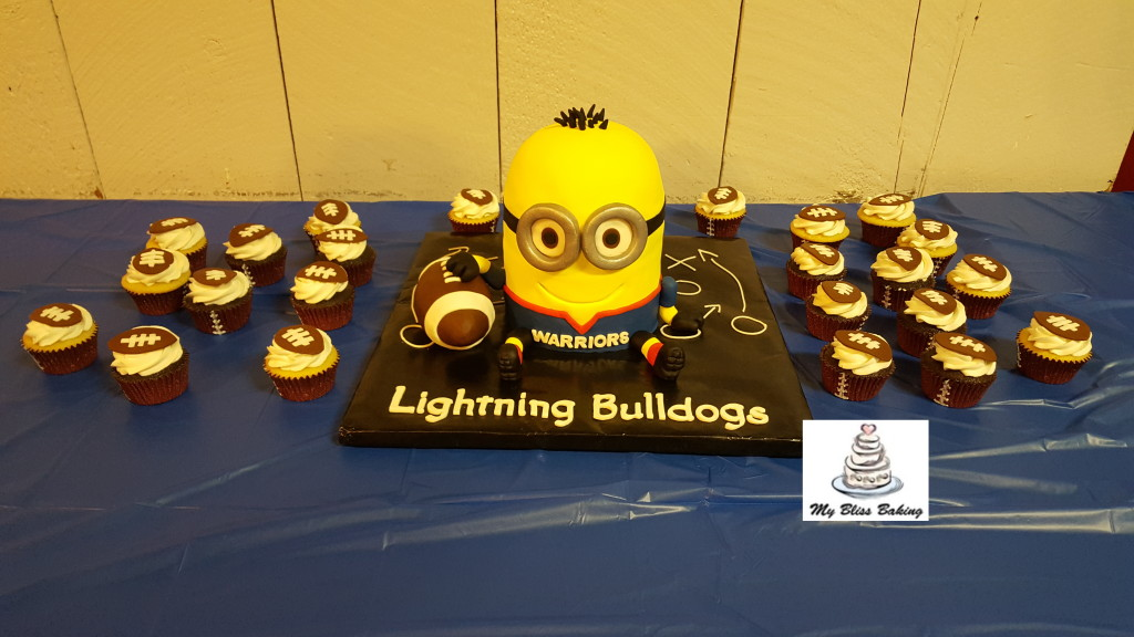 Football Minion Cake and Cupcakes